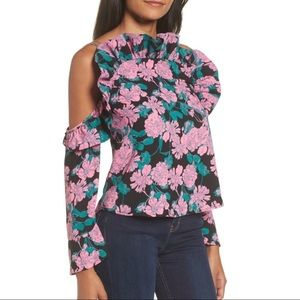 Leith Floral Pink Black Ruffle Cold Shoulder Top